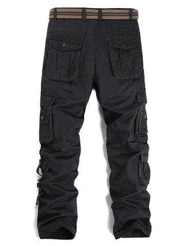 Unique Buttons Design Pockets Embellished Cargo Pants - 36 GRAY Mobile
