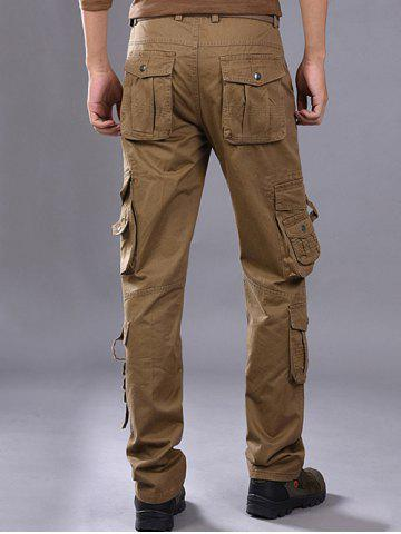 Best Buttons Design Pockets Embellished Cargo Pants - 36 ESPRESSO Mobile
