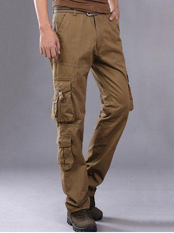 Unique Buttons Design Pockets Embellished Cargo Pants - 36 ESPRESSO Mobile