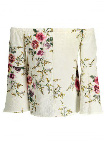 Fashion Floral Off The Shoulder Blouse - S WHITE Mobile