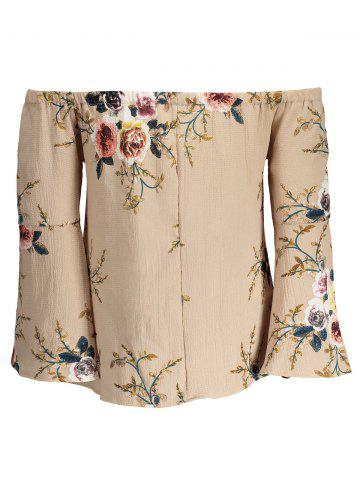 Fashion Floral Off The Shoulder Blouse - S APRICOT Mobile