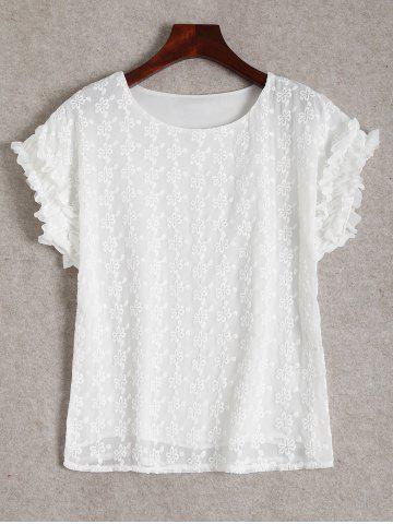 Hot Ruffle Short Sleeve Blouse - L WHITE Mobile