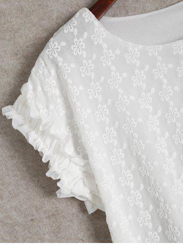 Outfits Ruffle Short Sleeve Blouse - XL WHITE Mobile
