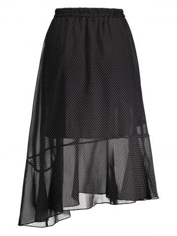 Latest Polka Dot High Waist Midi Skirt - ONE SIZE BLACK Mobile