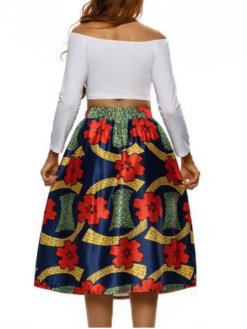 Store Printed High Waist Tea Length Skirt - S COLORMIX Mobile