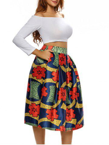 New Printed High Waist Tea Length Skirt - S COLORMIX Mobile