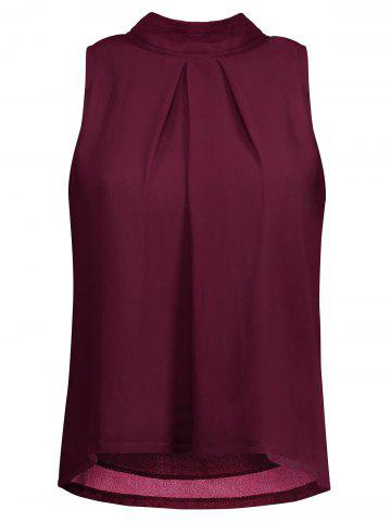 Trendy Ruched Cut Out Chiffon Tank Top