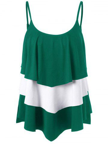 Layered Two Tone Tank Top - Green - Xl