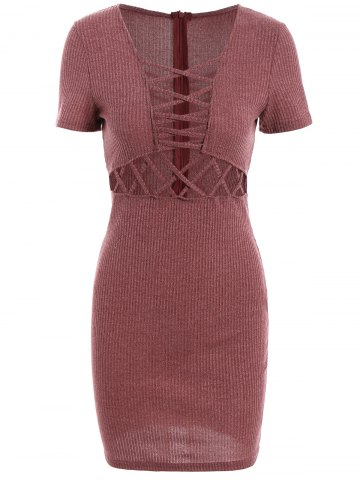Discount Lace Up Ribbed Fitted Sweater Dress DARK AUBURN S