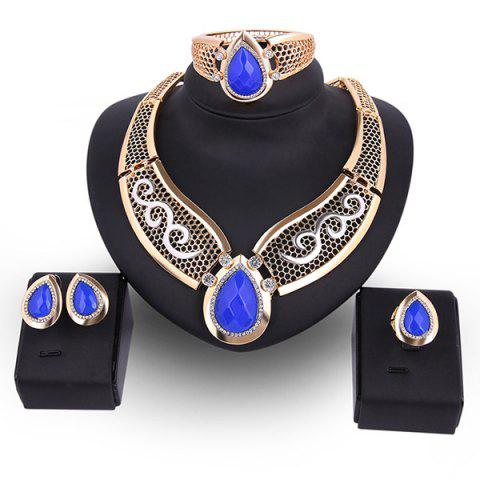 Chic Teardrop Hollow Out Faux Ruby Jewelry Set BLUE