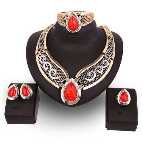 Latest Teardrop Hollow Out Faux Ruby Jewelry Set