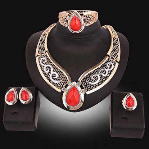 Affordable Teardrop Hollow Out Faux Ruby Jewelry Set - RED  Mobile