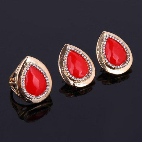 Sale Teardrop Hollow Out Faux Ruby Jewelry Set - RED  Mobile