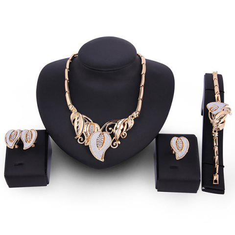 Affordable Flowers Design Faux Gem Jewelry Set GOLDEN