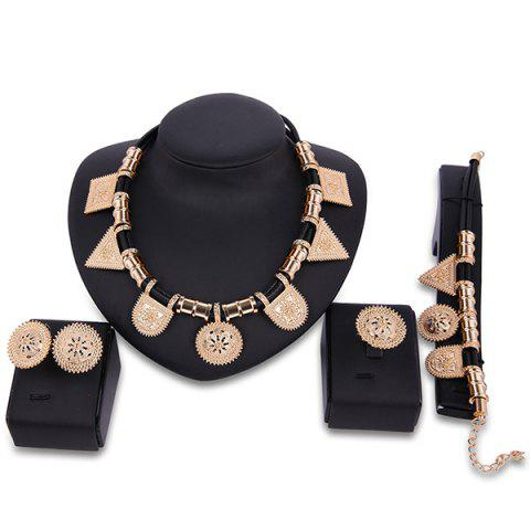 Fancy Sun Totem Geometric Engraved Jewelry Set GOLDEN