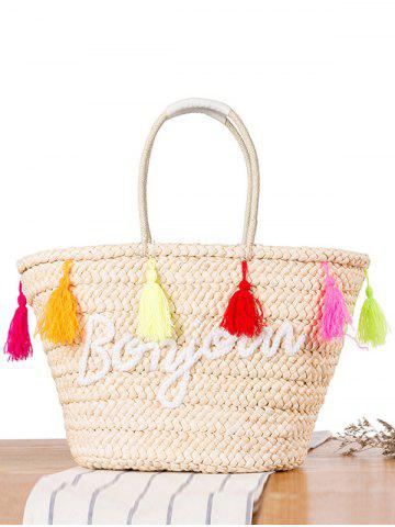 Fashion Bonjour Tassels Straw Woven Beach Bag OFF-WHITE