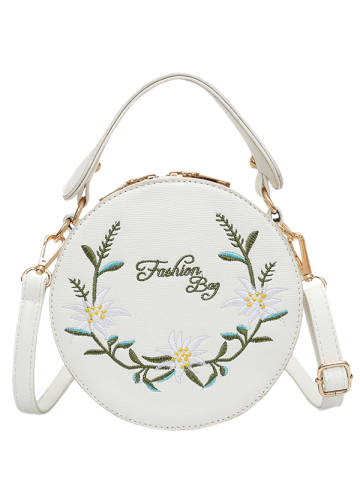 Discount Flower Embroidery Canteen Crossbody Bag WHITE