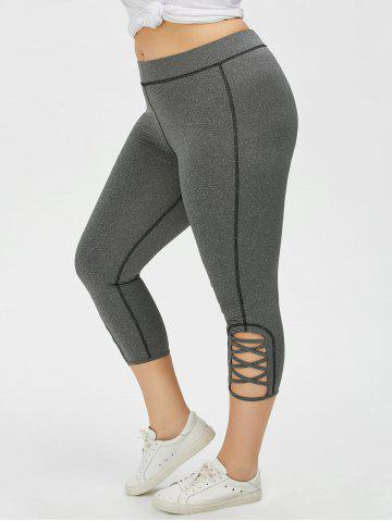 Discount Plus Size Side Criss Cross Capri Leggings