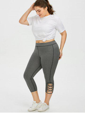 Shops Plus Size Side Criss Cross Capri Leggings - 2XL GRAY Mobile