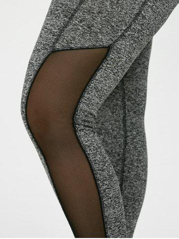 Unique Plus Size High Waist Mesh Insert Leggings - 2XL GRAY Mobile