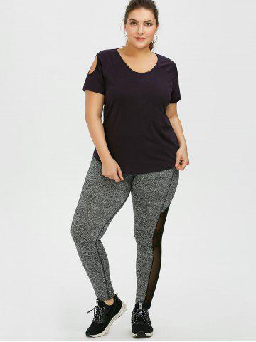Shop Plus Size High Waist Mesh Insert Leggings - 2XL GRAY Mobile