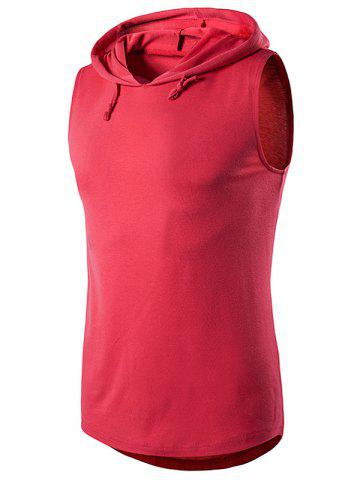 Sale Hooded Sleeveless T-Shirt - XL RED Mobile