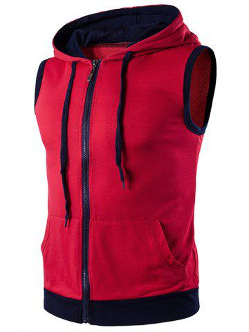 Hooded Zip Up Tank Top - Red - 2xl