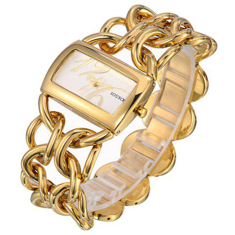 SOUSOU Alloy Strap Rectangle Quartz Watch - Gold And White - 150*180cm