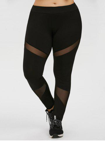 Chic Plus Size Mesh Panel Workout Leggings - 4XL BLACK Mobile