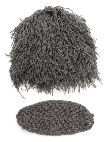 Outfits Hobo Pretend Beanies Wig Beard Party Mask Set - MEN GRAY Mobile