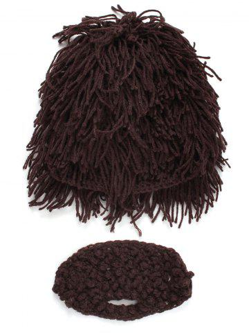Outfits Hobo Pretend Beanies Wig Beard Party Mask Set - MEN COFFEE Mobile