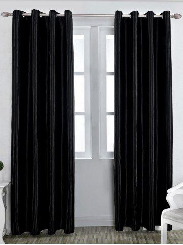 Fashion Grommet Thermal Insulated Window Blackout Curtain - W39 INCH*L98 INCH BLACK Mobile