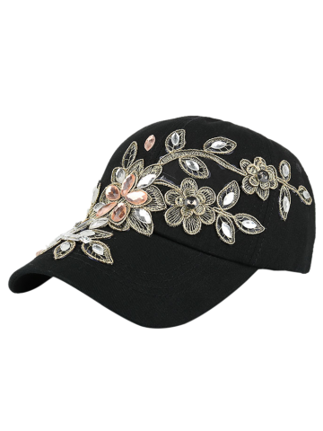 Denim Baseball Hat with Flower Embroidery Rhinestone - Black - One Size