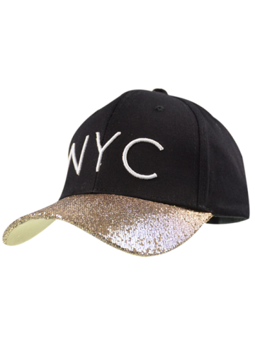 Sequined Brim NYC Embroidered Baseball Hat - Black - One Size