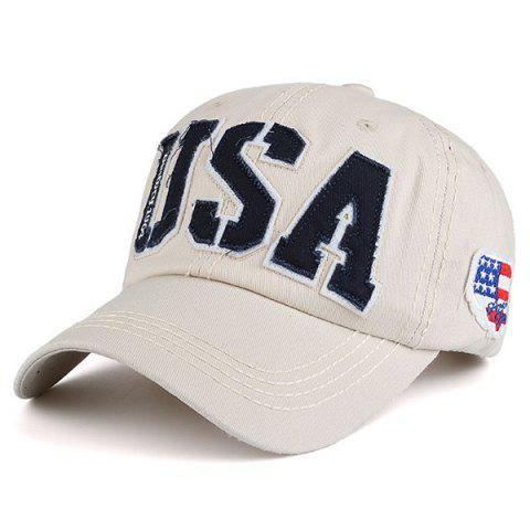 USA Flag Letters Embroidered Baseball Hat - Candy Beige