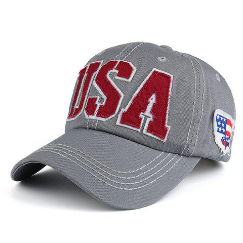 Latest USA Flag Letters Embroidered Baseball Hat - GRAY  Mobile