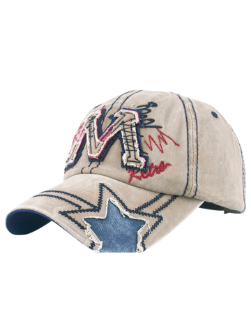 Frayed Letter M and Star Design Baseball Hat - Light Khaki - M