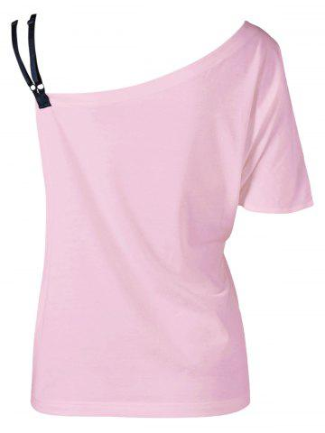 Hot Skew Collar Butterfly Print T-Shirt - SHALLOW PINK XL Mobile