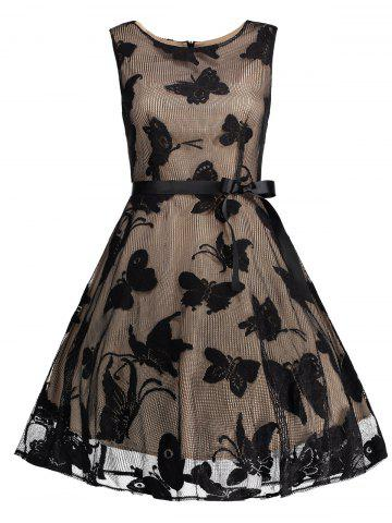 Plus Size Butterfly Jacquard A Line Prom Dress - BLACK 5XL