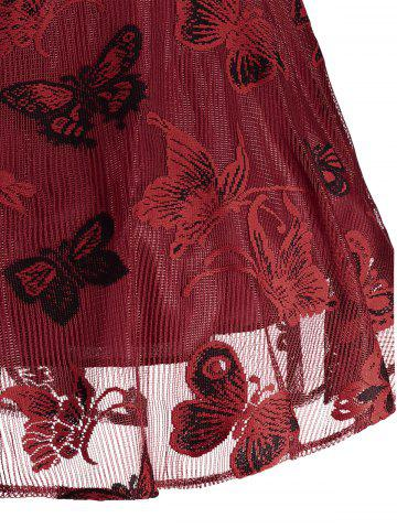 Affordable Plus Size Butterfly Jacquard A Line Short Formal Dress - 5XL RED Mobile