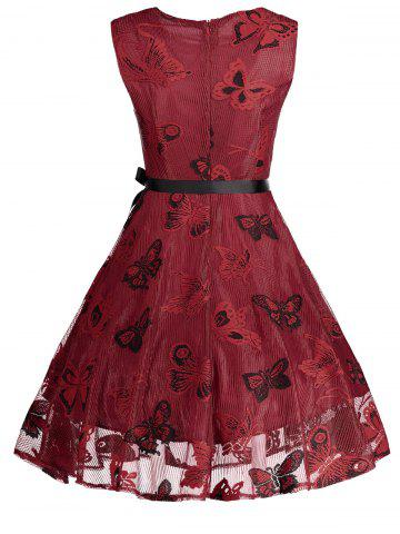 Fashion Plus Size Butterfly Jacquard A Line Short Formal Dress - 5XL RED Mobile