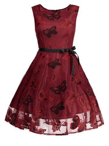 Plus Size Butterfly Jacquard A Line Prom Dress - RED XL