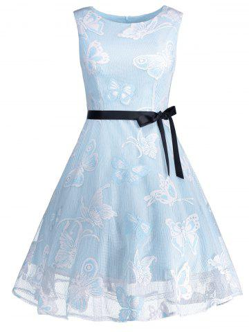 Outfit Plus Size Butterfly Jacquard Short Formal Dress LIGHT BLUE XL