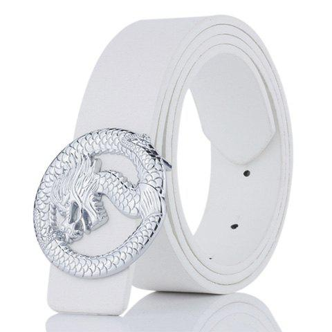 Cheap Dragon Shape Embellished Wide Belt WHITE
