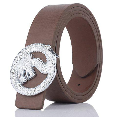 Online Dragon Shape Embellished Wide Belt COFFEE