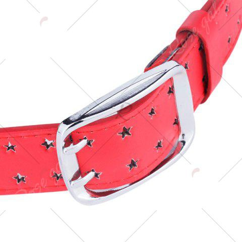 Store Hollow Out Stars Pin Buckle Wide PU Leather Belt - RED  Mobile