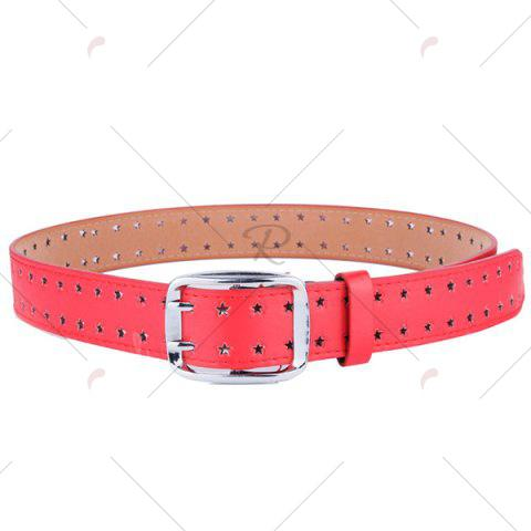 Sale Hollow Out Stars Pin Buckle Wide PU Leather Belt - RED  Mobile