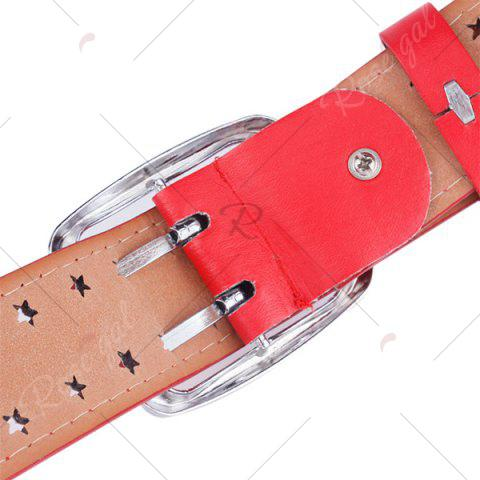 Shop Hollow Out Stars Pin Buckle Wide PU Leather Belt - RED  Mobile