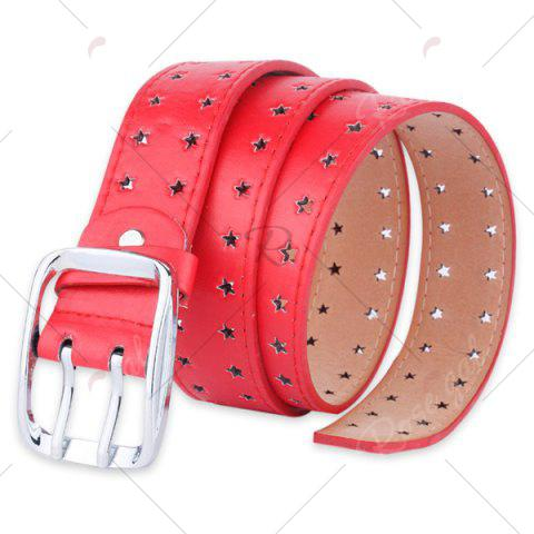 Online Hollow Out Stars Pin Buckle Wide PU Leather Belt - RED  Mobile