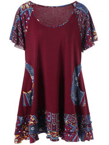 Discount Plus Size Raglan Sleeve Layered Top with Pockets - 2XL DEEP RED Mobile